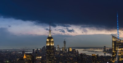 new york panorama skyline night empire state building by filippo orsi